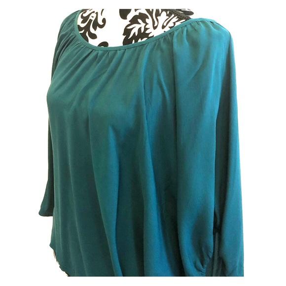 FOI Tops - Beautiful FOI teal green silk top